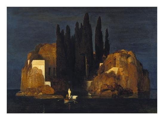 An oil painting of a small boat with a shrouded standing figure approaching a wooded island under a dark sky